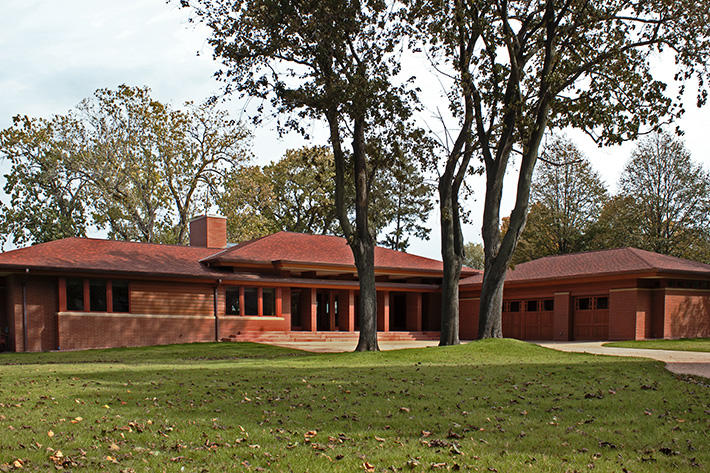 Brick Home with Red Colonial