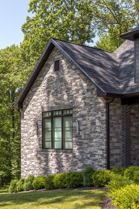Brick & Stone Home with Charcoal (S85) & Adirondack Squared Fieldstone