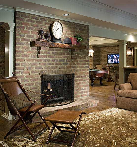 Brick Fireplace & Accent Wall